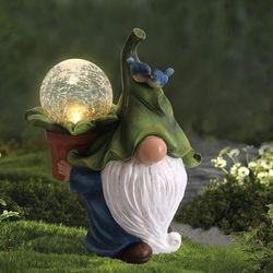 Garden Gnome Statue - Resin Gnome Figurine Carrying Magic Orb with Solar LED Lights, Outdoor Winter Decorations for Patio Yard Lawn Porch for Sale in Tulsa,  OK