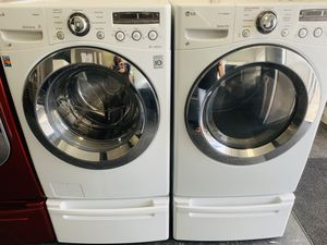 Lg True Steam Electric Front Load Set With Pedestals for Sale in Layton, UT