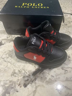 NEW BOYS RALPH LAUREN POLO BLACK/RED SZ 4 TODDLER SHOES JESSUP for Sale in Washington, DC