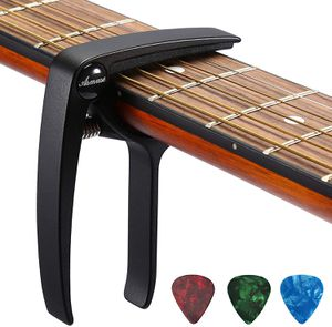 Guitar Capo Trigger with 3pcs Guitar Picks Single Hand Use Quick Change Aluminum Alloy Black Capos for Classical Acoustic Electric Guitars Bass Ukule for Sale in San Francisco, CA