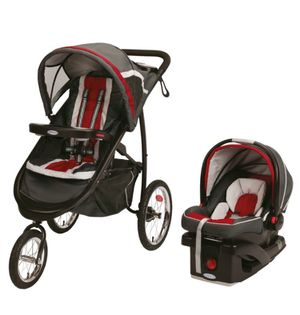 Graco Fastaction Fold Jogger Click Connect travel system in Red for Sale in Santa Monica, CA