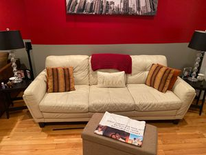 Off white leather couch for Sale in Washington, DC