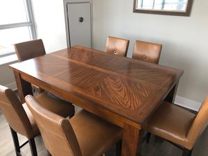 Counter Height Dining Table with Leaf and 6 Counter Height Pier One Imports Chairs for Sale in Chicago, IL