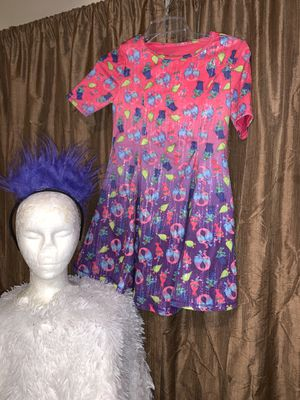 Trolls dress and headband Halloween costume size 10–12 for Sale in National City, CA