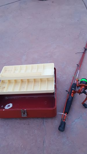 Fishing pole with tackle box slingshot for Sale in Stockton, CA