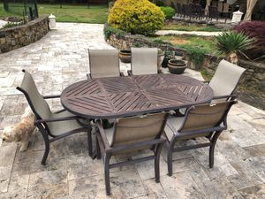 High end Powder coated metal dining room table with six arm chairs outdoors for Sale in Monroe Township, NJ