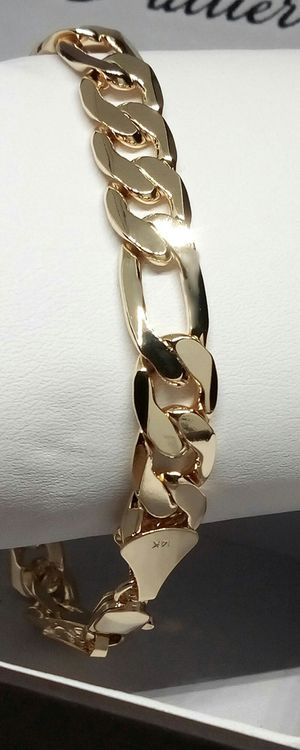 """14K Gold 20X more over Stainless Steel High Quality Filled 11mm Figaro Link Bracelet 9"""" for Sale in Boca Raton, FL"""