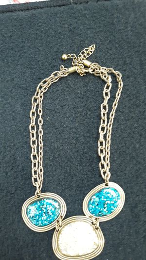 Silver necklace with blue and white stones for Sale in Millersville, MD