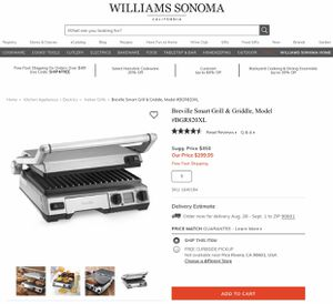 Breville Smart Grill & Griddle BGR820XL for Sale in Whittier, CA