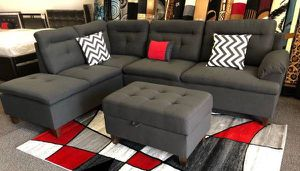 Brand New Charcoal Grey Linen Sectional Sofa Couch +Storage Ottoman for Sale in Chevy Chase, MD