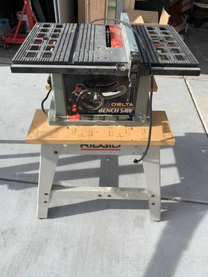"Delta 10"" BenchSaw Table Saw and Stand with 2 Saw Horses Included for Sale in Las Vegas, NV"