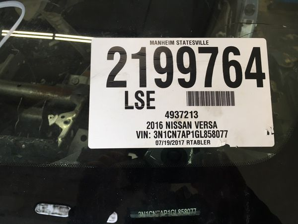 2016 Nissan Versa Engine/Trans Auto 24k