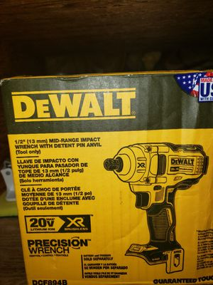 """Dewalt 20vMax cr brushless 1/2"""" mid range impact wrench with detent pin anvil for Sale in Lompoc, CA"""