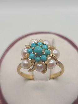18k Gold Turquoise And Pearl Ring for Sale in Croydon,  PA