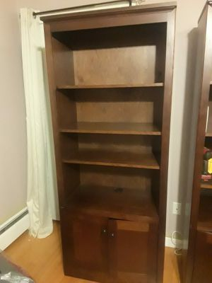 Two wooden bookshelves with cabinets for Sale in Saugus, MA