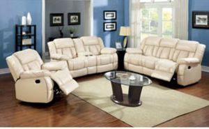 Barabado Ivory Sofa and Loveseat with recliners $1364.89 for Sale in Rockville, MD