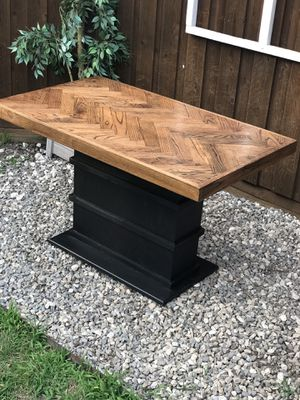 Small Kitchen nook wood dining table herringbone modern industrial brown and black for Sale in Plano, TX
