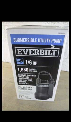 NEVER USED Everbilt 1/6 HP Plastic Submersible Utility Pump for Sale in Glendale, AZ