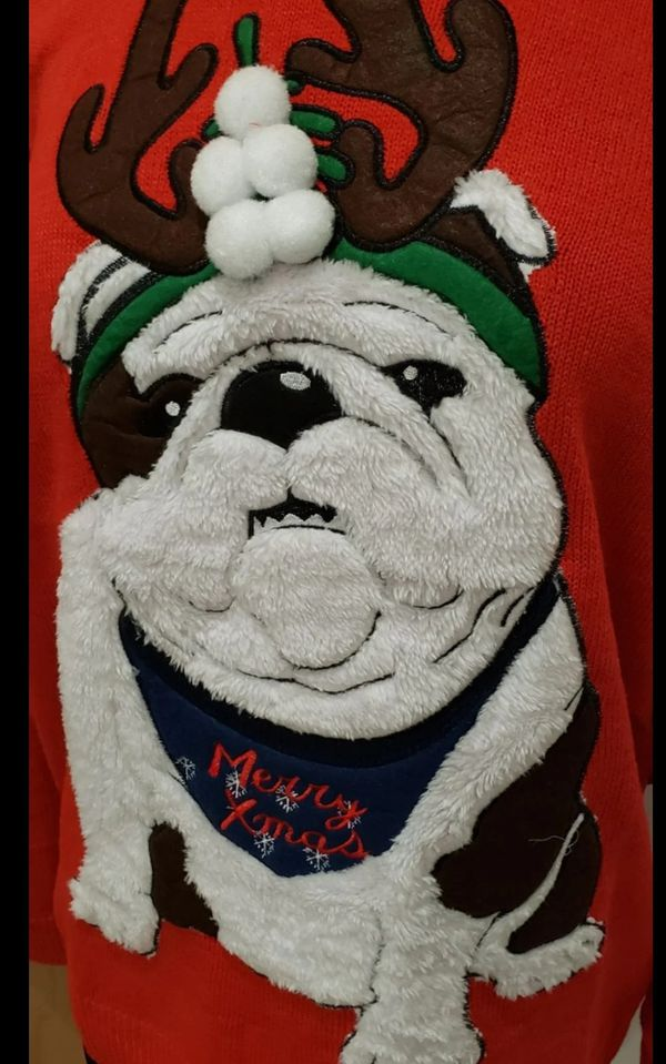 L English Bulldog Dog Christmas Sweater brand new with tags. Red with fluffy bulldog on the front wearing reindeer antlers. Size large