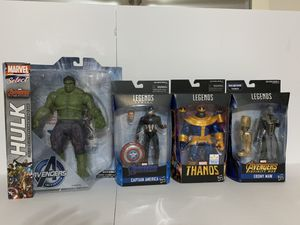 Marvel Select Avengers Hulk Marvel Legends Thanos walmart exclusive Worthy captain America Ebony Maw for Sale in Middleburg, FL