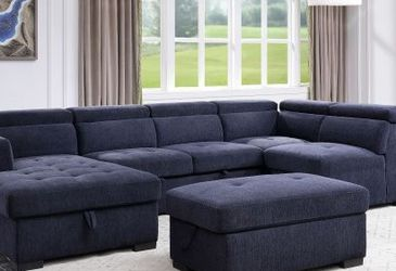 Storage Sleeper Sectional Sofa and Ottoman/// Financing Available for Sale in Hialeah,  FL