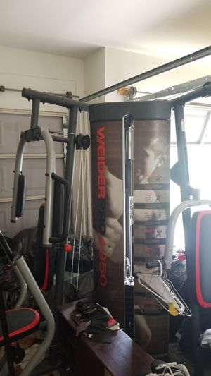 Weider gym set. For free just have to pick up. You can bench , do flys , shoulder press ,arms and legs!! for Sale in ARROWHED FARM, CA