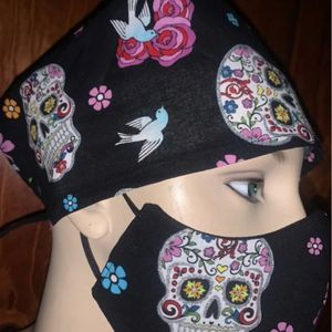 Sugar Skulls Scrub Cap And Face Mask With Filter for Sale in Downey, CA