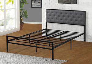 QUEEN Size Metal Platform Bed (Fully Slated NO BOX SPRING REQUIRED) with Linen Fabric Headboard for Sale in Garden Grove, CA