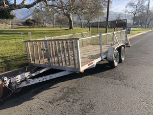 Trailer for sale 7x14 mighty mover manufactured in corona ca. Pinkslip in hand permanent tags new tires electric brakes ramp heavy duty ready to work for Sale in Riverside, CA