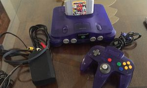 Purple clear Nintendo 64 w Mario Party 3 1 original Control and Cables for Sale in National City, CA