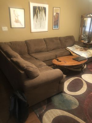 Big sectional with rug and table for Sale in Fayetteville, AR
