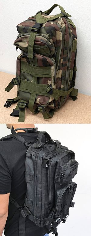 New $15 each 30L Outdoor Military Tactical Backpack Camping Hiking Trekking (Black/Camouflage) for Sale in Pico Rivera, CA