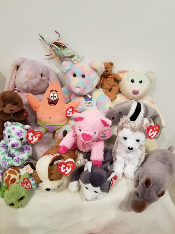 Lot of TY Collectible Beanie Babies Plush Toys