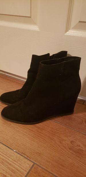 Women's booties. Black suede wedge and maroon booties. Size 8. $10 each or $15 for both for Sale in Franklin, TN
