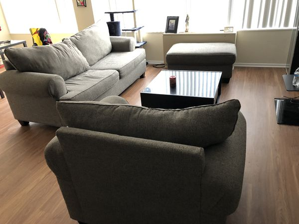 Sofa Bed, large Chair, Ottoman, Coffee table and 2cabinets.