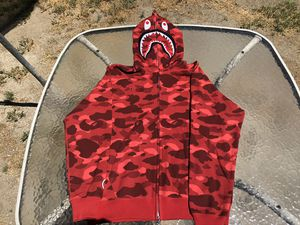 Bape Red Color Camo Shark Full Zip Hoodie for Sale in GLMN HOT SPGS, CA