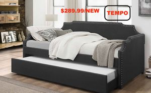 Linen Day Bed with Trundle, Grey for Sale in Westminster, CA