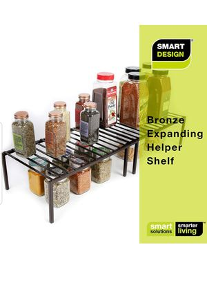 Smart Design Premium Kitchen Storage Shelf w/Plastic Feet - Expandable - Steel Frame - Rust Resistant Coating -Kitchen (16-32 x 6 Inch) [Bronze] for Sale in Decatur, GA