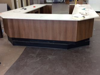Office Counter Solid Wood With Marble Top In U Shape . (13ft x (2.5ft Each Side) . for Sale in Ontario,  CA
