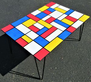 """35""""x24"""" ORIGINAL HAND MADE WOOD COFFEE TABLE. 16"""" TALL. DE STIJL STYLE. for Sale in Cincinnati, OH"""