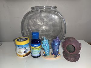 Beta Fish and Fish Tank set and decorations for Sale in Burtonsville, MD