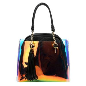 Hologram Tote with Tassel and Black Vegan Leather Quilted Zippered Backpack Set for Sale in Temple Hills, MD