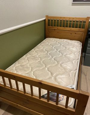 Ikea solid pine wood Hemnes twin bed with twin mattress for Sale in Fremont, CA