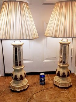 Pair Rare Vintage Signed Fuggiti Mirror Lamps With New Shades for Sale in Brentwood,  MD