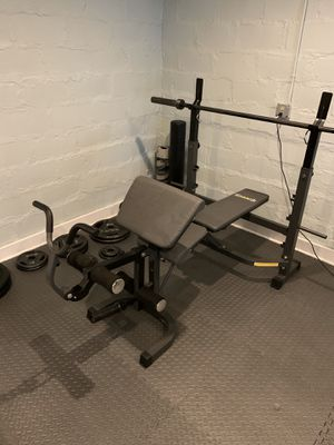Body Champ Olympic Weight Bench with Preacher Curl, Leg Curl Attachment for Sale in Eastchester, NY