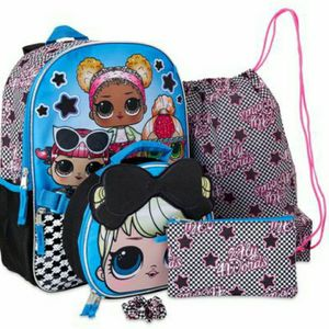 LOL Surprise Glam Squad 5 pc Backpack Lunch Tote Bag Gadget Case Hair Scrunchie for Sale in Dallas, TX