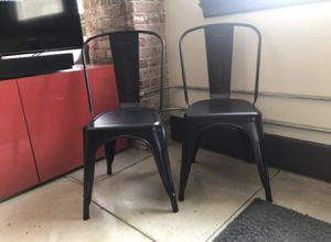 Black Stackable Chairs (2) for Sale in Los Angeles, CA