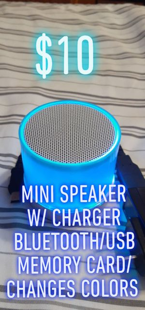 $10 🎶MINI SPEAKER 🎶 CHANGES COLORS BLUETOOTH USB MEMORY CARD WITH CHARGER for Sale in Denver, CO