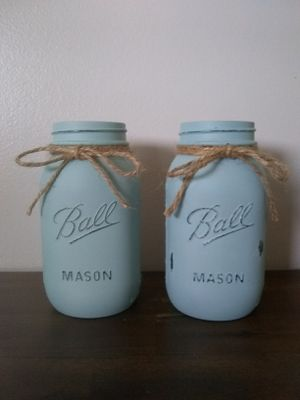 Chalk painted Mason jars for Sale in Heath, OH