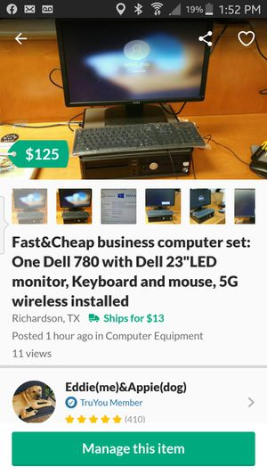 """Fast&Cheap business computer set: One Dell 780 with Dell 23""""LED monitor, Keyboard and mouse, 5G wireless installed for Sale in Richardson, TX"""